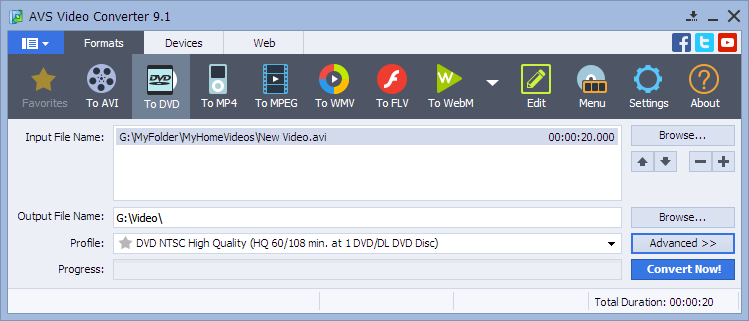 AVS Video Converter User Interface