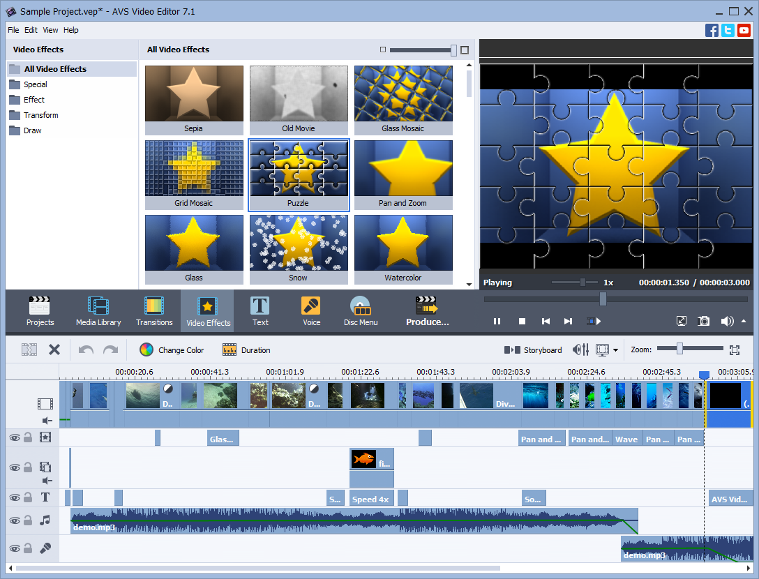 AVS Video Editor user interface screenshot